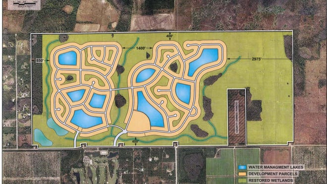 Corkscrew Farms is located on 1,361 acres north of Corkscrew Road about six miles east of Ben Hill Griffin Parkway. Developer Camprop, Inc. wants to build up to 1,361 homes on the property.