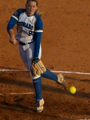 Barron Collier's Tori Sutherland pitches against North Fort Myers in the Class 6A regional semifinal Tuesday, May 9, 2017. North Fort Myers would win 8-4.