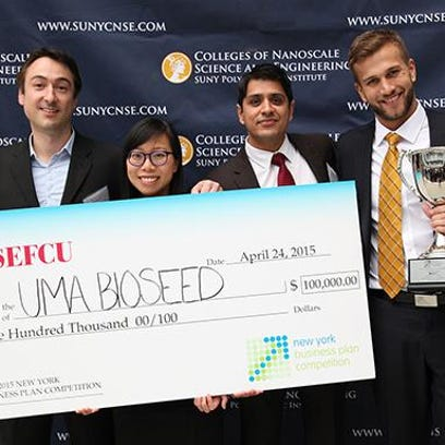 The Uma Bioseed team, from left, Stéphané Corgié, Margo Wu, Abhijeet Bais and Brennan Whitaker Duty, pose after winning $100,000 for the start-up in the New York Business Plan Competition in Albany in spring. The team is now competing for an ever-larger prize from another business competition, 43North.
