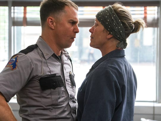 "Sam Rockwell, left, and Frances McDormand star in ""Three"