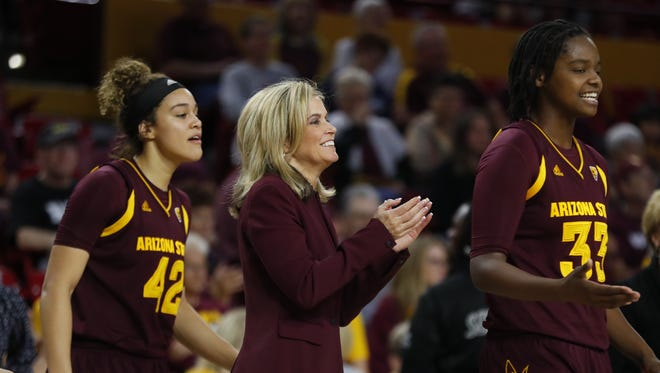 ASU head coach Charli Turner Thorne claps for her team against Washington State during the second half at Wells Fargo Arena on February 4, 2018 in Tempe, Ariz.