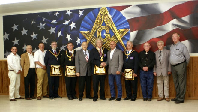The Deming Masonic Lodge recently celebrated the dedication of a new mural in the dining area at the Lodge, 1600 South Eighth St. Lodge members commissioned the Deming High School Art Club to paint the mural and members were honored by the presence of several Grand Lodge Officers and the Honorable City of Deming Mayor Benny Jasso, as well as Deming Public Schools Board Members Bayne Anderson. The ceremony began with a lunch, followed the presentation by RWB Dick Ribble, District 10 Deputy Grand Master and several favorable comments.The ceremony marked another historical moment in the local lodge's long and illustrious history.