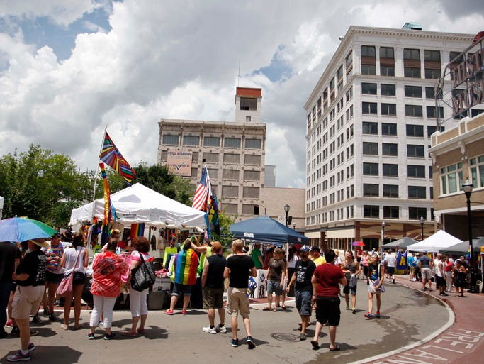The Square was very busy during PrideFest in downtown Springfield on June 21, 2014.