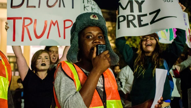 Students for a Democratic Society hosts a community protest, against the recent election of Donald J. Trump as President elect for the United States, on Wed., Nov. 09, 2016 at the Capitol Building in Tallahassee, FL.
