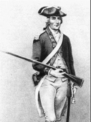 This is an undated drawing of Ira Allen as an officer in the Green Mountain Rangers. Allen was the first town clerk and treasurer of Colchester.