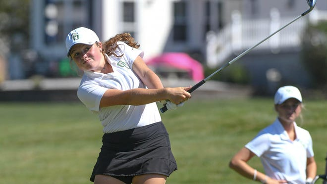 GlenOak's Emma Knisley hits a tee shot during a match against Perry at The Legends of Massillon, Aug. 20, 2020.