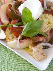 Tomato and Stone Fruit Panzanella With Burrata prepared