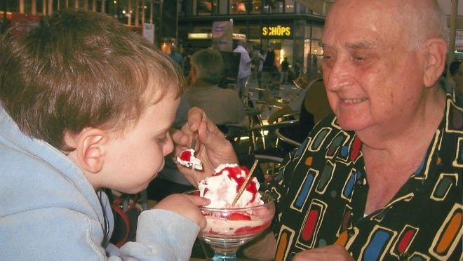 Sid Neschis with his grandson, Michael, on a visit to Vienna.