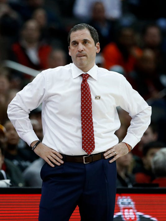 Iowa State coach Steve Prohm watches during the first half of the team's NCAA college basketball game against Texas in the Big 12 men's tournament Wednesday, March 7, 2018, in Kansas City, Mo. (AP Photo/Charlie Riedel)