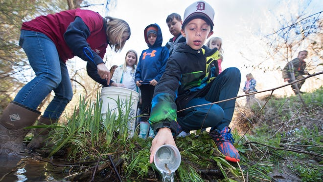 Ore Valley Elementary School third-grader Caden Snyder releases his trout into a stream in Lower Chanceford Township on Saturday, April 8, 2017. Caden and other members of his school participated in the Trout In the Classroom program, which teaches students about cold water conservation while they raise brook trout from eggs to fingerling in a classroom aquarium run by his teacher Alisha Good, seen here on the left.