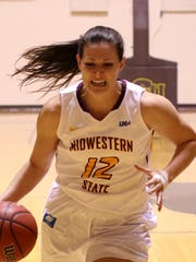 Midwestern State's Jennifer Arbuckle drives to the basket in the game against Texas A&M-Commerce Thursday, Jan. 26, 2017, at D.L. Ligon Coliseum. Arbuckle will play her final gme for MSU Saturday against Texas Woman's.