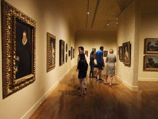 Patrons browse through the galleries of the Samuel H. Kress Collection of European Art at the El Paso Museum of Art in Downtown El Paso. The museum is part of a feature on place to visit in El Paso in an Alaska Airlines in-flight magazine.