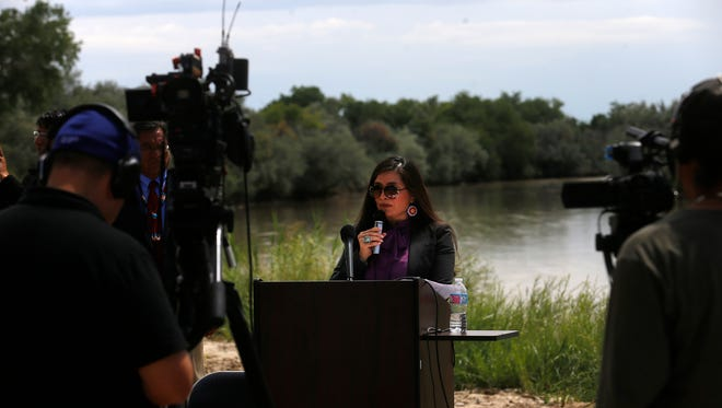 Navajo Nation Attorney General Ethel Branch talks during a press conference on Aug. 16 at Nizhoni Park in Shiprock about the tribe's lawsuit against the U.S. Environmental Protection Agency.