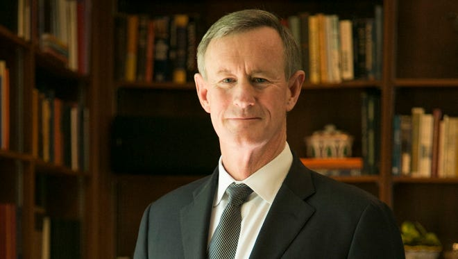 Admiral William McRaven, chancellor of the University of Texas System, poses for a portrait in his home in West Austin on March 31, 2017. McRaven's 2014 commencement speech at UT went viral and began with a simple piece of advice: If you want to change the world, start by making your bed. McRaven has turned that address into a book.