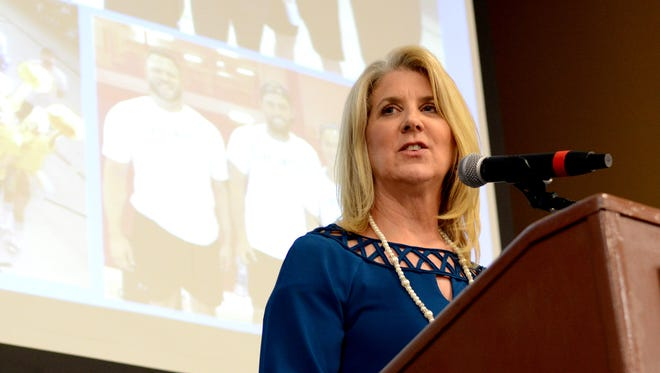 United Way of Southeast Mississippi President and CEO Tracie Fowler discusses food security during the Annual Meeting & Thank You Banquet on on Thursday.