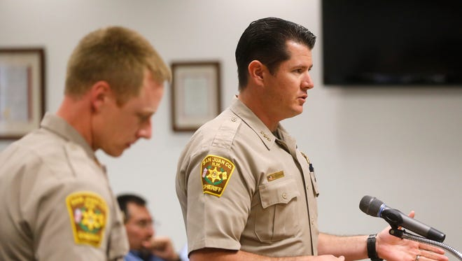 Capt. Cory Tanner, left, and Undersheriff Shane Ferrari appear at a San Juan County Commission meeting on Oct. 6, 2015, in Aztec.