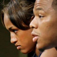 Janay Rice, left, looks on as her husband, Ray Rice, now a former Baltimore Ravens running back, speaks to the media in May.