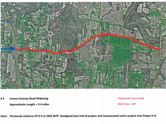 This rendering shows a proposed five-lane widening of Leanna Swamp Road from Lebanon Road (U.S. Highway 231 North) to Interstate 840. The project is part of Murfreesboro city's proposed 2040 Major Thoroughfare Plan.