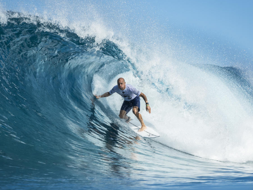 Kelly Slater reached Round 5 at the Pipeline in Decemeber