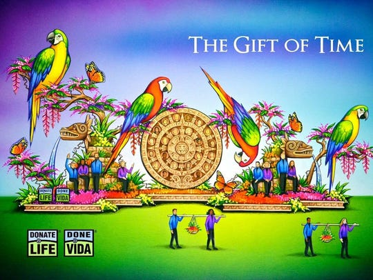 This is a drawing of what the Gift of Time float will
