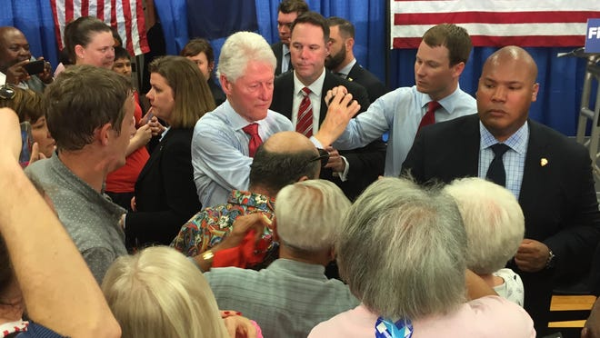 Former President Bill Clinton, following a rally in Indianapolis in support of his wife, presidential candidate Hillary Clinton, on Tuesday, April 26, 2016.