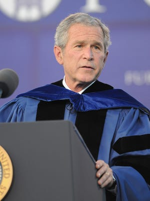 President Bush gives the commencement speech at Furman University on May 31, 2008.