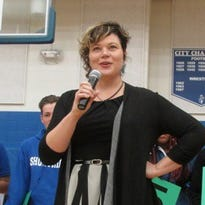 English teacher Melody Coryell speaks to Shortridge High School students on Monday, Nov. 23, 2015, after receiving the $25,000 Milken Award.