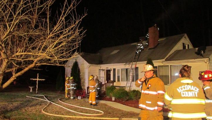 Firefighters battle Onley chimney fire
