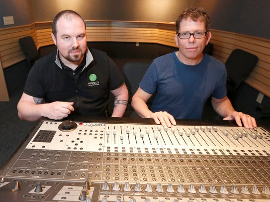 Recording engineers and instructors Ed Willock, left,