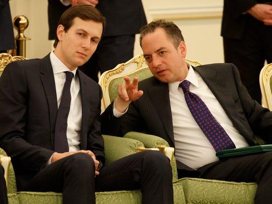 Priebus talks with White House senior adviser Jared