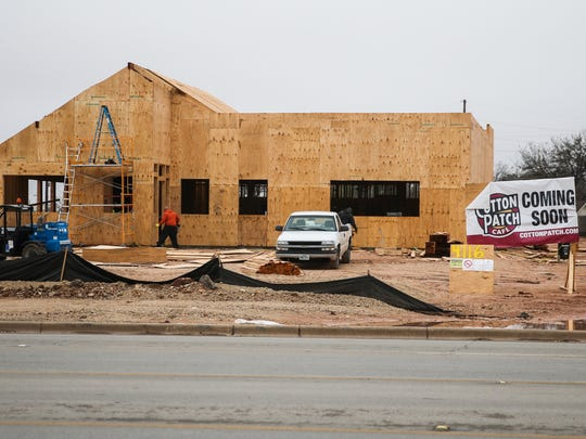 Construction continues for a Cotton Patch Cafe located at 4116 Sherwood Way in San Angelo.