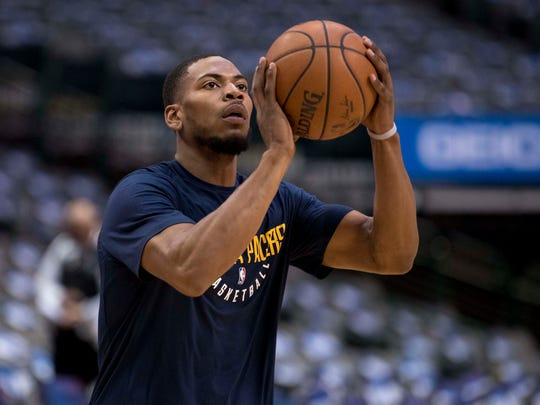 Feb 26, 2018; Dallas; Indiana Pacers wing Glenn Robinson III warms up before the game against the Dallas Mavericks at the American Airlines Center.