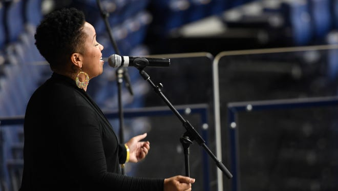 Tamica Harris auditions to sing the National Anthem during the Predators open house at Bridgestone Arena Thursday, Aug. 24, 2017 in Nashville, Tenn.