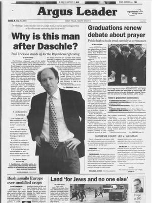 The front page of the Sioux Falls Argus Leader from May 25, 2003.