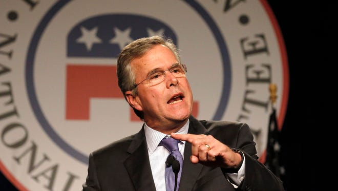 Former Florida Gov. Jeb Bush delivers the keynote address at the Republican National Committee spring meeting Thursday in Scottsdale, Ariz.