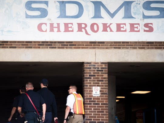 Knoxville authorities participate in an active shooter response training at South-Doyle Middle School on Friday, June 1, 2018.