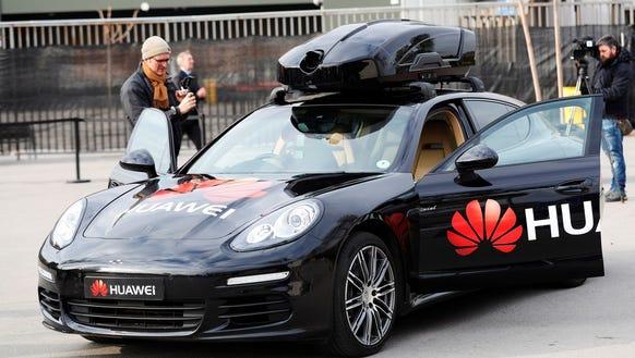 A view of a driverless Porsche car controlled by Huawai's