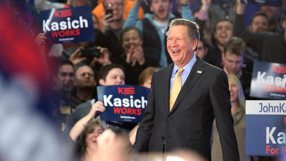 Ohio Gov. John Kasich celebrates his only win in the 2016 presidential primaries: his home state of Ohio.