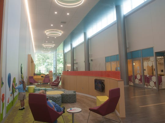 Seating pods in the lobby of Nemours duPont Pediatrics