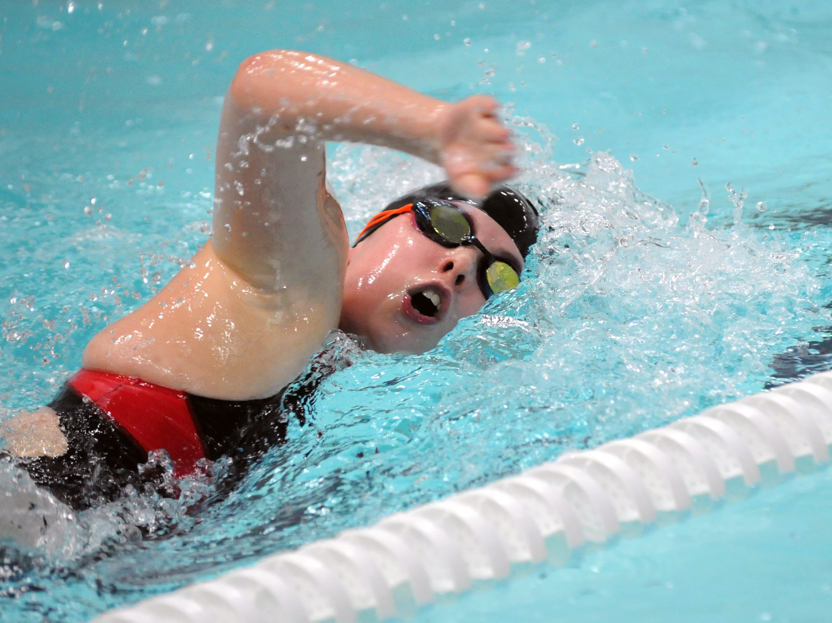 Coshocton's Taylor Holderbaum competes in the 200 meter freestyle Saturday during the 2015 Coshocton Invitational at Coshocton High School.