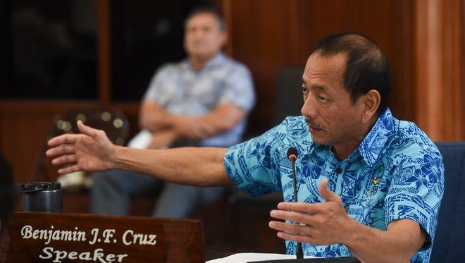 Speaker Benjamin J.F. Cruz discusses Bill No. 245-34 (COR) during a legislative session at the Guam Congress Building on Feb. 23, 2018.