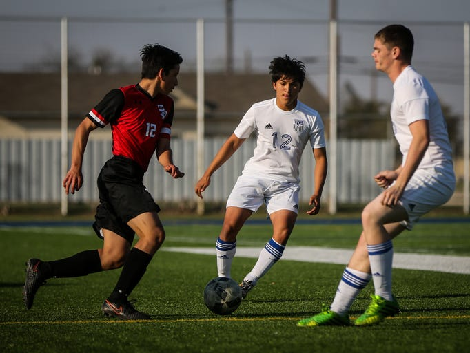 Lake View's Diego Salas, center, goes for the ball