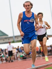 Zane Trace's Cole Clever runs in the 1,600 meter run Saturday, June 2, 2018, during the state track and field championship at Jesse Owens Memorial Stadium in Columbus.
