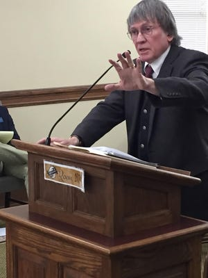 Great Falls City Commissioner Bill Bronson speaks Tuesday to members of the House Judiciary Committee.