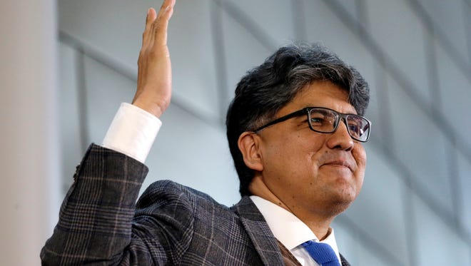 """In this Oct. 10, 2016, file photo, author and filmmaker Sherman Alexie gives the keynote address at a celebration of Indigenous Peoples' Day at Seattle's City Hall. Alexie has issued an apology amid anonymous allegations of sexual misconduct that surfaced on the internet in the past week. The Seattle Times reports that Alexie released a statement, saying: """"Over the years, I have done things that have harmed other people, including those I love most deeply."""""""