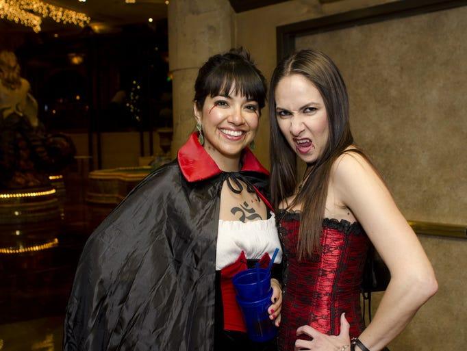 Jenn Warnke and Rosy Esparza at Reno's Vampire Crawl on Friday.