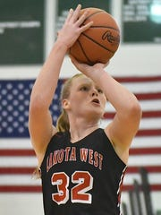Lakota West's Abby Prohaska knocks down a shot against