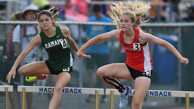 File photo of Grace Smiechowski, of Northern Highlands, at the Bergen County Meet of Champs. Highlands rolled to its fifth straight North 1, Group 3 state sectional title on May 27, 2017.