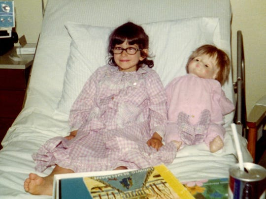 Renee Rizzo before one of her eye surgeries in Norwalk Hospital in Connecticut.
