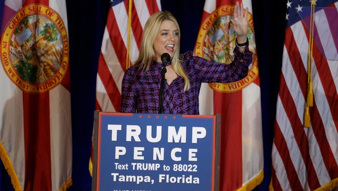 Florida Attorney General Pam Bondi before a speech by Republican presidential candidate Donald Trump on Nov. 5 in Tampa. Bondi has yet to hear whether she will be appointed to a position within the Trump administration.